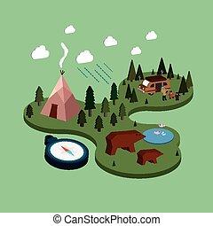 vita, illustrazione, isometrico, campeggio, appartamento, 3d
