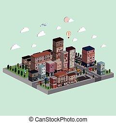 vita, illustrazione, isometrico, città, appartamento, 3d