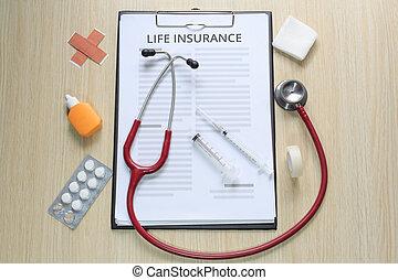 vita, intonacare, tintura, cima, polizza assicurazione, nastro, garza, siringa, ipodermico, stetoscopio, vista