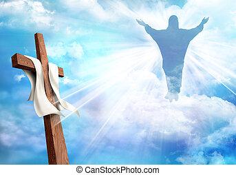 vita, morte, cristiano, cristo, sorto, secondo, cielo, croce, gesù, fondo., nubi, resurrection.