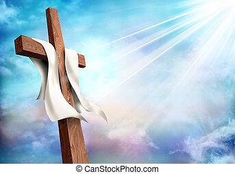 vita, morte, cristiano, secondo, cielo, croce, fondo., nubi, resurrection.