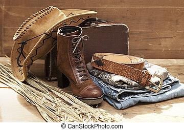 vita, stivale, cappello, cowboy, ancora