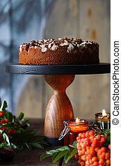 vita, torta, noci, ancora, cioccolato