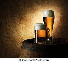 vita, vecchio, pietra, barile birra, ancora
