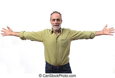 vitale, uomo, disteso, bianco, braccia