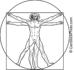 vitruvian, (outline, version), uomo