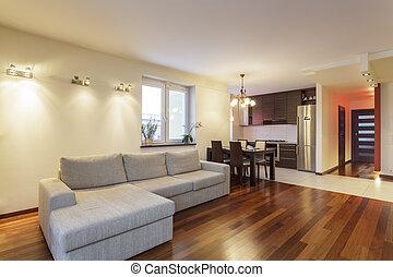 vivente, appartamento, -, spazioso, stanza