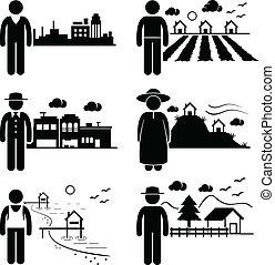vivente, differente, locali, persone