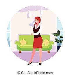vivente, donna d'affari, fondo, stanza, bianco