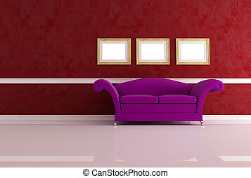 vivente, stanza moderna, divano, classico