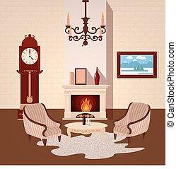 vivente, vettore, stanza, vendemmia, illustrazione, candeliere, interior., interno, casa, fireplace.