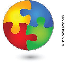 vivido, puzzle, logotipo, cerchio, colori
