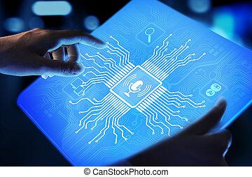 voce, virtuale, simbolo, controllo, ricerca, microfono, screen., riconoscimento