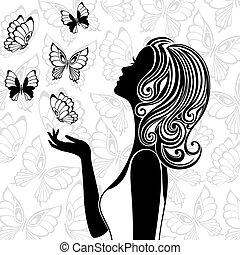 volare, farfalle, donna, silhouette, giovane