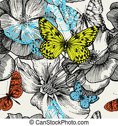 volare, illustration., drawing., modello, farfalle, seamless, mano, rose, vettore, azzurramento