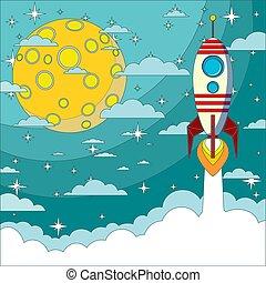 volare, luna, razzo, spazio