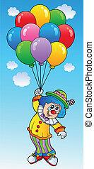 volare, palloni, cartone animato, pagliaccio
