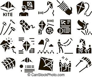 volare, set, aria, giocattolo, glyph, vettore, aquilone