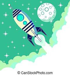 volare, stelle, luna, razzo, spazio