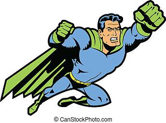 volare, superhero, pugno serrato