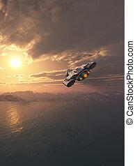 volare, tramonto, astronave