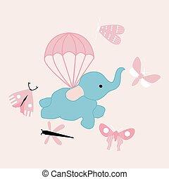 volare, vettore, illustrazione, carino, elefante
