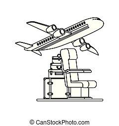 volare, viaggiare, set, aeroplano, icone