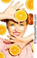volerci, bellezza, freckles, succoso, oranges., ragazza, modello