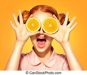 volerci, bellezza, succoso, arance, ragazza, modello