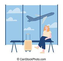 volo, andare, volare, aeroplano, trip., bagaglio, vettore, illustrazione, terminale, fondo., donna, vacation., linea fissa, attesa, cartone animato, ragazza, tempo, carattere, zona, arte, estate, aeroporto, giovane