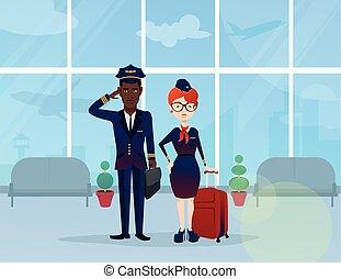 volo, giovane, agente, pilota