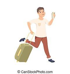 volo, illustrazione, aeroporto, uomo, giovane, vacanza, fretta, estate, turista, cartone animato, maschio, vettore, andare, valigia, correndo