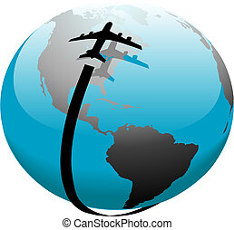 volo, jet, sopra, percorso, terra, aeroplano, uggia