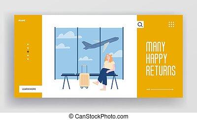 volo, sito web, andare, volare, atterraggio aeroplano, viaggio, bagaglio, vettore, pagina, terminale, fondo., donna, vacanza, appartamento, attesa, web, page., cartone animato, ragazza, banner., zona, illustrazione, aeroporto, giovane