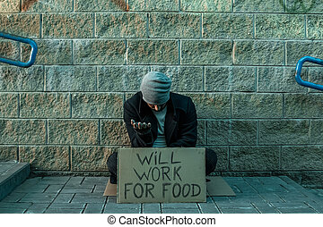 volontà, cibo., concetto, segno, uomo, uomo, elemosina, strada, povertà, tossicomane, despair., lavoro, persona, chiede, senzatetto, senzatetto