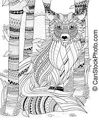 volpe, coloritura, pagina, lanuginoso