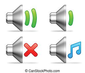 volume, audio, icons.