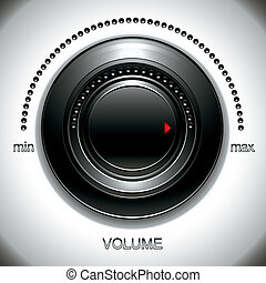 volume, grande, nero, knob.