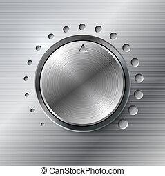 volume, rotante, metallico, knob.
