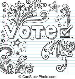 voto, doodles, elezione, presidenziale