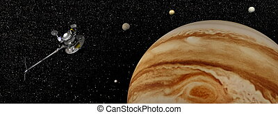 voyager, render, -, astronave, giove, satelliti, relativo, 3d