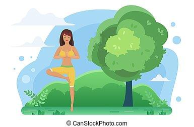 vrikshasana, meditazione, donna, yoga, natura, posizione