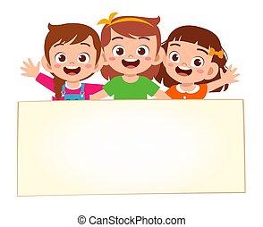 vuoto, bandiera, piccole ragazze, felice, carino, capretto