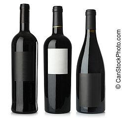 vuoto, bottiglie vino, rosso