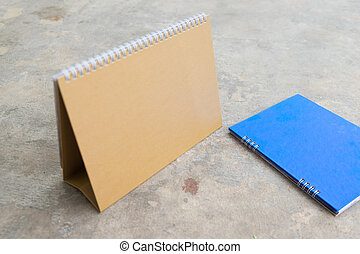 vuoto, calendario, carta, spirale, scrivania