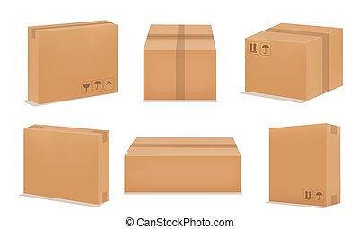 vuoto, cartone, imballaggio, scatole, set