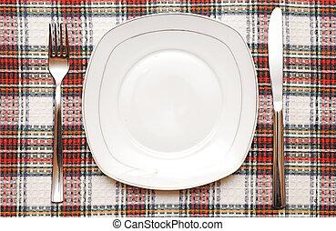 vuoto, coltello, checkered, piastra, forchetta, tovaglia, bianco