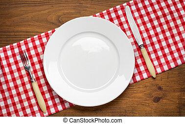 vuoto, coltello, legno, piastra, forchetta, tavola.