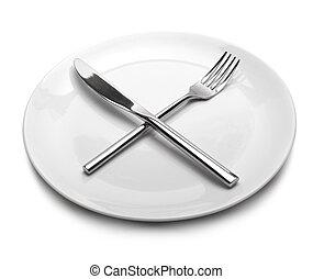 vuoto, piastra, forchetta, kni, bianco