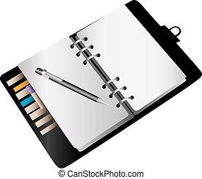 vuoto, quaderno, pianificatore
